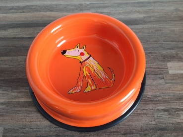 Smaltum Emaille Futternapf orange strupp. sitzender Hund